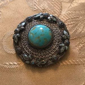 Vintage Brooch Silver & Turquoise